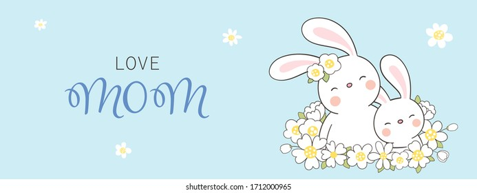 Draw vector banner rabbit and baby with white flower on blue color. For mother'day. Doodle cartoon style.