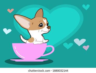 Draw vector character design Chihuahua dog