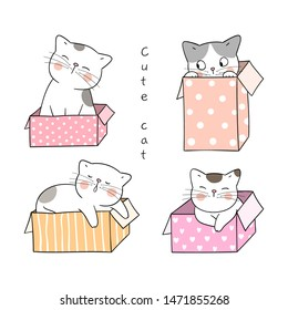 Draw vector character design happy cat in sweet box.Isolated on white.Doodle cartoon style.