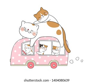 Draw vector cute cat sleep on pink van.Isolated on white.Doodle cartoon style.