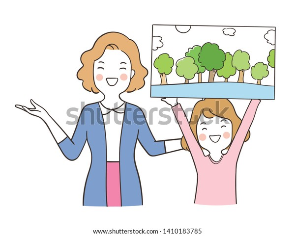 Draw Vector Girl Show Her Drawing Stock Vector Royalty Free