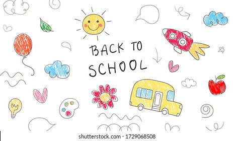 Draw vector illustration banner colorful objects and icon on white.For back to school.Doodle kid style.