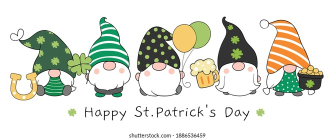 Draw vector illustration banner design gnomes with Happy St Patrick's Day.Cartoon style.