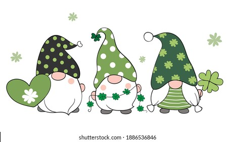 Draw vector illustration banner design gnomes with clover leaf for St Patrick's.Day Cartoon style.