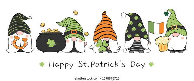 Draw vector illustration banner design gnome with Happy St Patrick's Day.Doodle cartoon style.