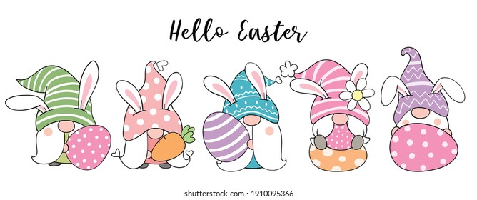 Draw vector illustration banner design cute gnomes with eggs for Easter and spring. Doodle cartoon style.