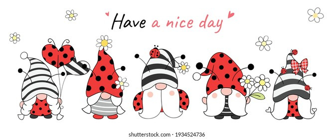 Draw vector illustration banner design ladybug gnomes for spring and summer Cartoon style