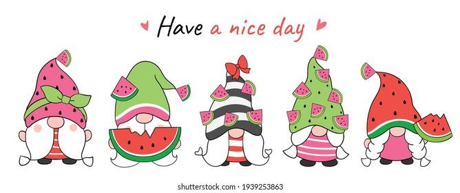 Draw vector illustration banner design watermelon gnomes for summer Cartoon style