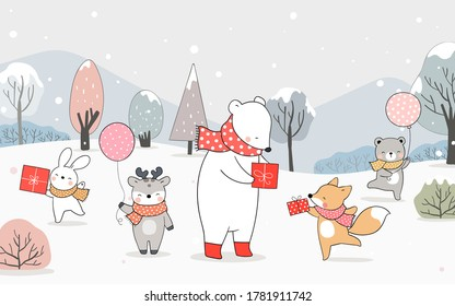 Draw vector illustration banner happy bear fox deer and rabbit playing in snow for winter and Christmas.Doodle cartoon style.