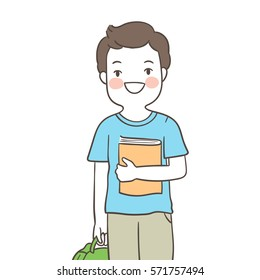 Draw vector illustration character a boy ready to back to school.Doodle cartoon style.