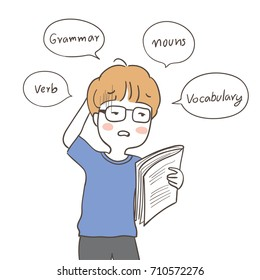 Draw vector illustration character of a boy confused to read English and speech bubble.Doodle cartoon style.