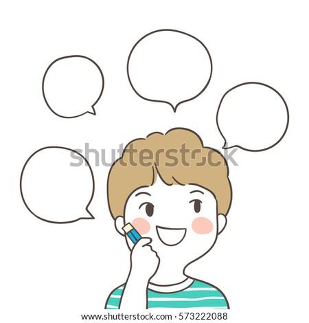 Draw Vector Illustration Character Boy Thinking Stock Vector