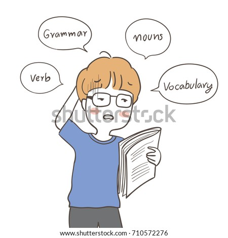 Draw Vector Illustration Character Boy Confused Stock Vector