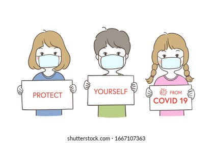 Draw vector illustration character children a boy and a girl holding board write protect yourself Health concept.Doodle cartoon style.