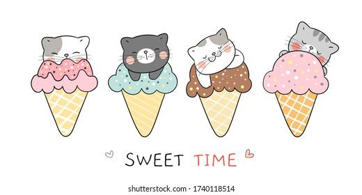 Draw vector illustration character collection cute cat in ice cream cones for summer. So sweet. Doodle cartoon style.