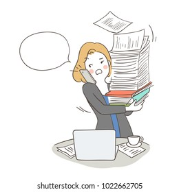 Draw vector illustration character design busy business woman talking on the phone and armful of documents white speech bubble.Doodle cartoon style.