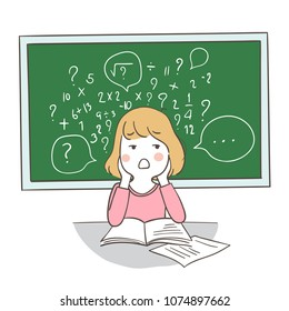 Draw vector illustration character design a girl confused about math on blackboard.Isolated on white color.Doodle cartoon style.