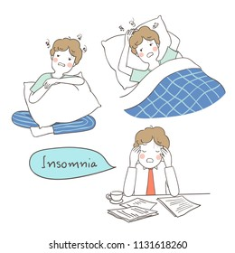 Draw vector illustration character design sleepless man suffer from insomnia.Doodle style.