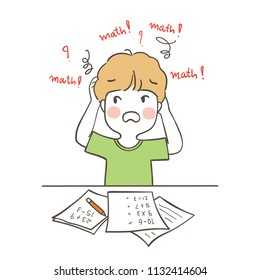Draw vector illustration character design a boy confused about math.Isolated on white color.Doodle cartoon style.