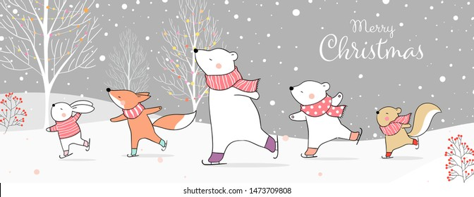 Draw vector illustration character design banner animal on ice skates in snow.Winter concept.Doodle cartoon style.