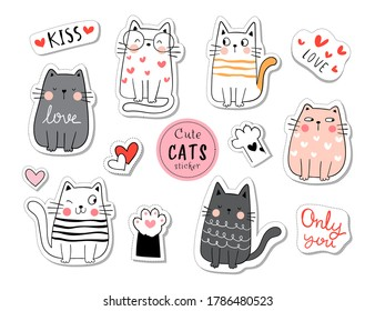 Draw vector illustration character design collection stickers funny cat in love concept.Doodle cartoon style.