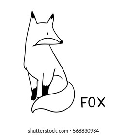 Draw vector illustration character design outline of fox.Doodle style.