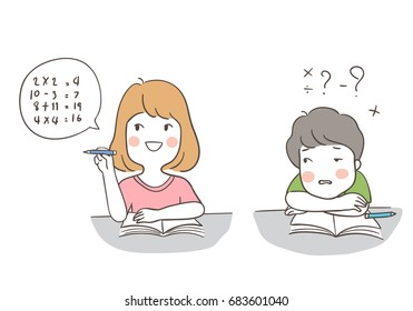 Draw vector illustration character design different pose of a boy and a girl  has to do math in classroom.