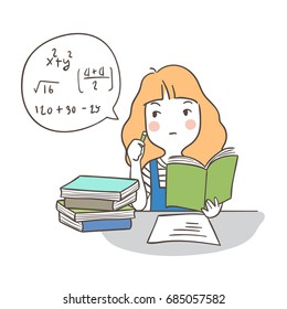 Draw vector illustration character design a girl practice of math.Doodle cartoon style.