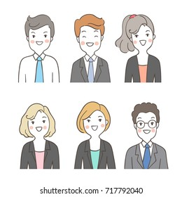 Draw vector illustration character design portrait people for business different face.Doodle cartoon style.
