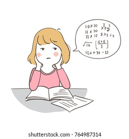 Draw vector illustration character design a girl confused practice of math.Doodle cartoon style.
