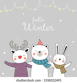 Draw vector illustration character happy animal in snow for Christmas and new year.Doodle cartoon style.