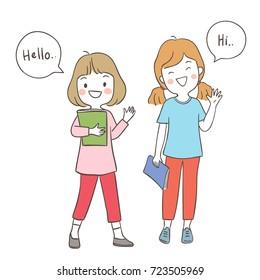 Young Girl Saying Hi Images, Stock Photos & Vectors