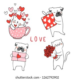 Draw vector illustration collection cute cat and pug dog with little heart for valentine's day.Isolated on white.Doodle cartoon style.