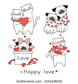 Draw vector illustration collection portrait cute cat and pug dog with little heart for valentine day.Isolated on white.Doodle cartoon style.