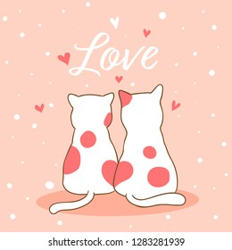 Draw vector illustration couple love of cat sweet for Valentine's day on pastel color.Doodle cartoon style.