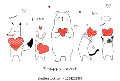 Draw vector illustration cute animal bear rabbit fox cat dog holding red heart for Valentine day.Doodle cartoon style.