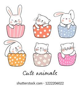 Draw vector illustration cute cat and rabbit sleeping in cup cake ,colorful pastel.Isolated on white.Doodle cartoon style.