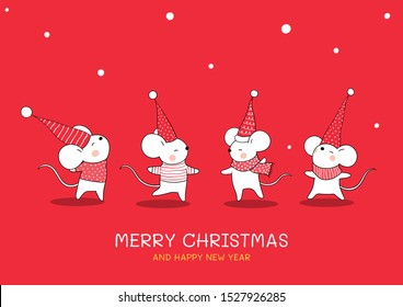 Draw vector illustration design collection cute mouse for Christmas and new year 2020 on red color .Greeting card and banner Year of the rat.Doodle cartoon style.
