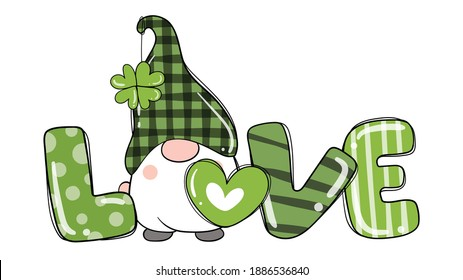 Draw vector illustration design  love St Patrick's Day with gnomes and clover leaf.Cartoon style.