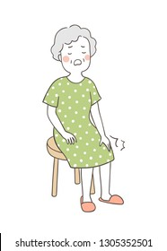 Draw vector illustration elderly senior woman suffering from knee.Grandmother with health care concept.Doodle cartoon style.