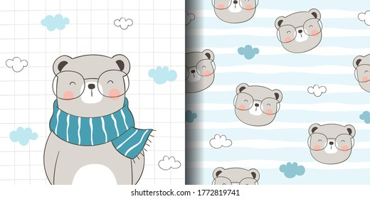 Draw vector illustration greeting card and print pattern of cute bear for fabric textiles kids.Doodle cartoon style.