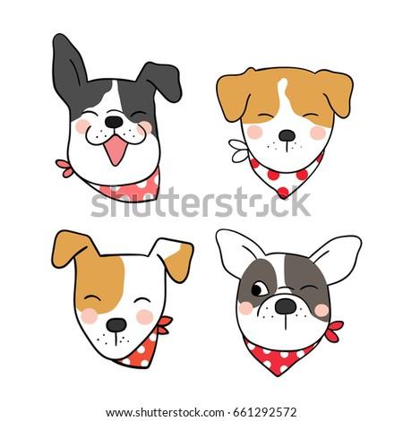 Draw Vector Illustration Head Cute Dog Stock Vector Royalty Free