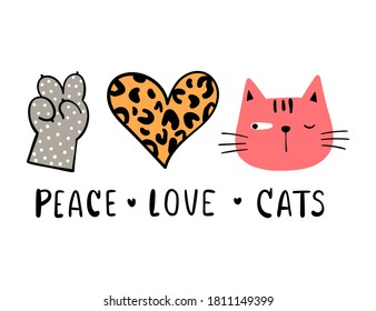 Draw vector illustration peace love cat for cut file print on T-shirt.Valentine concept.
