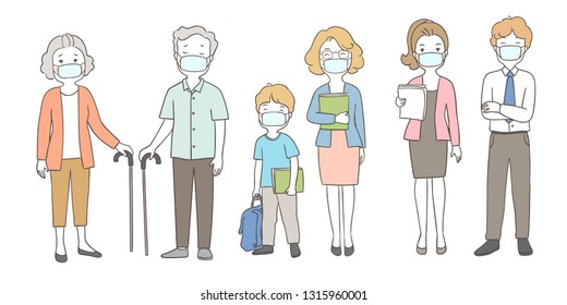 Draw vector illustration people wearing mask protect from PM2.5 dust, elderly senior man, woman, student, teacher and businessman.Health care concept.Doodle cartoon style.