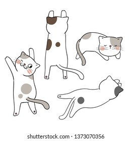 Draw vector illustration set adorable cat different pose.Isolated on white.Doodle cartoon style.