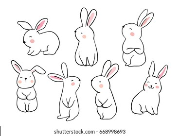 Draw vector illustration set character design of cute rabbit.Doodle style.