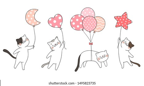 Draw vector illustration set cute cat holding balloon sweet color pastel.Isolated on white.Doodle cartoon style.