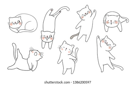 Draw vector illustration set outline of cute cat different pose.Doodle cartoon style.