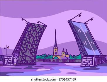 Drawbridges in Saint Petersburg at night