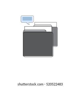 Drawer Business Office Paper Document Box Folder Files Vector Illustration